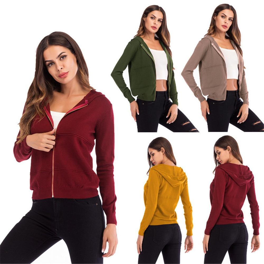 Green Zipper Hooded Coat yellow Solid Long Shirt burgundy sleeved khaki Cardigan Color Jacket Women's qtwvxz6z