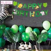 HUIRAN Safari Animals Paper Banner Happy Birthday Kids Party Decor Jungle Decorations Green Elephant Zebra