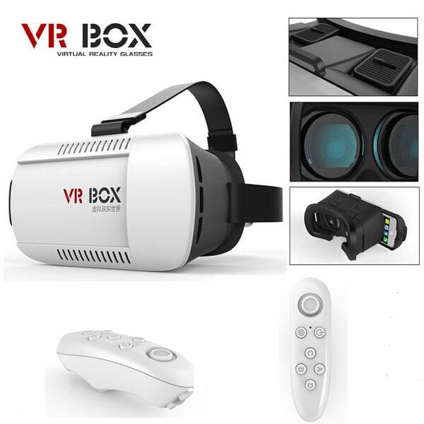 "Google Cardboard Headmount <font><b>VR</b></font> BOX Version <font><b>VR</b></font> <font><b>Virtual</b></font> <font><b>Reality</b></font> 3D <font><b>Glasses</b></font> for 3.5"" - 6.0"" Smartphone + <font><b>Bluetooth</b></font> Remote Controller"