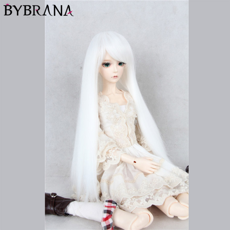 Bybrana White Long Straight Bangs Wigs High Temperature Fiber 1/3 1/4 BJD SD Dolls Hair