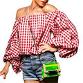 Women off the shoulder plaid blouse summer slash Harajuku style lantern sleeve shirts fashion slash neck women tops WE440