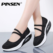PINSEN 2019 Summer Women Flat Platform Shoes Woman Breathable Mesh Casual
