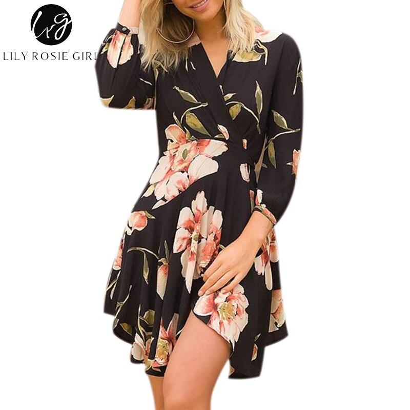 737a2b8354e3a BerryGo Floral Print Hollow Out Autumn Dress Women Flare Sleeve ...