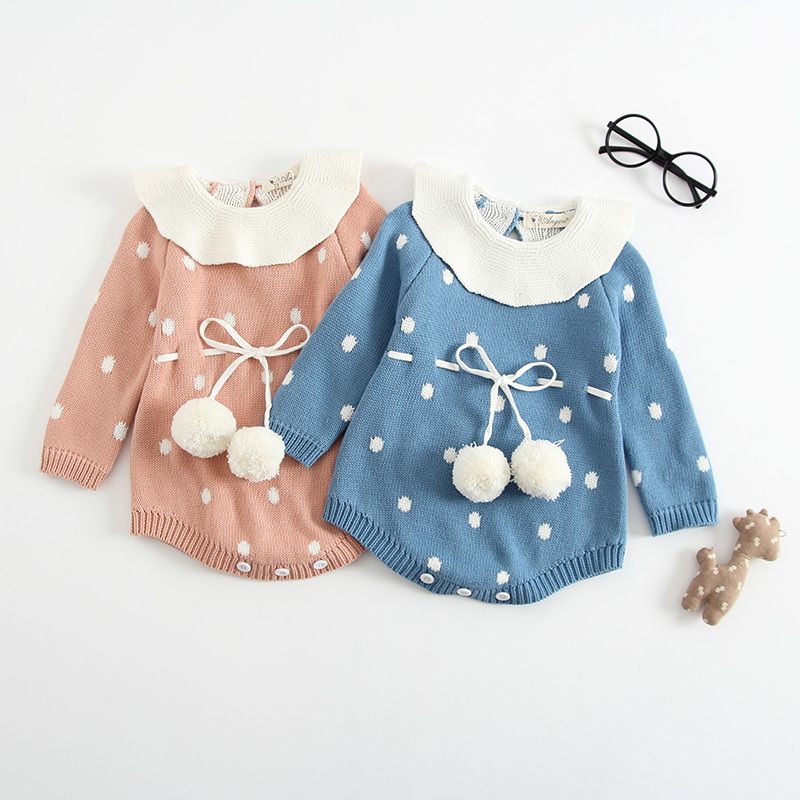 2018 autumn winter knitting wool newborn long sleeve romper clothes dot thickening lotus leaf collar jumpersuit