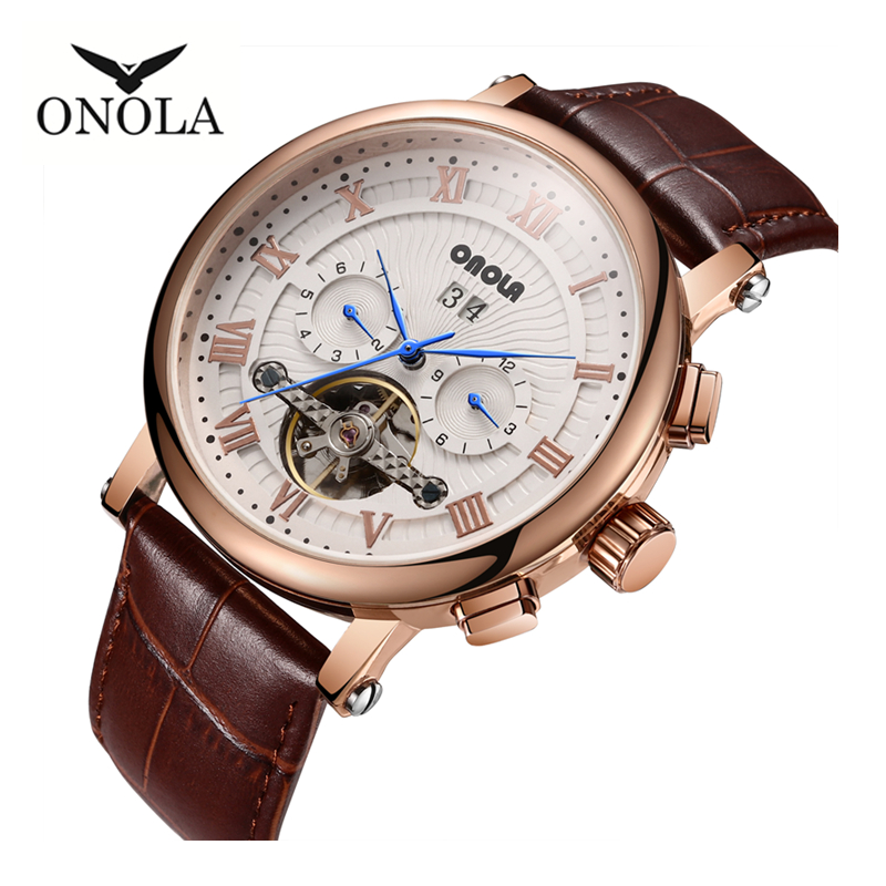 Brand ONOLA high-quality business leisure multi-functional automatic mechanical watch leather mens WristwatchBrand ONOLA high-quality business leisure multi-functional automatic mechanical watch leather mens Wristwatch