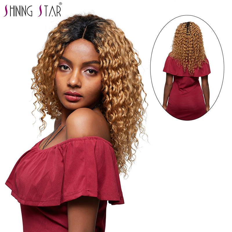 Ombre Deep Wave Wigs Human Hair For Black Women Colored Brazilian 1B 27 Lace Front Human