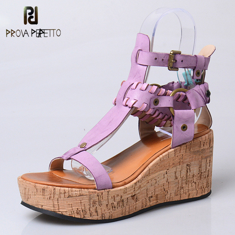 Prova Perfetto Bohemian Design T-tied Buckle Strap Wedge Woman Sandals Leisure Style Open Toe High Heel Soft Sole Sandals bohemian style beading and wedge heel design sandals for women