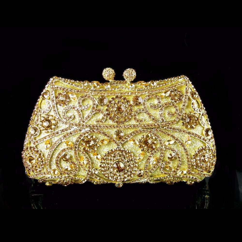 ФОТО #8131 Gold Crystal Flower Floral Wedding Bridal Party Night hollow Metal Evening purse clutch bag case handbag