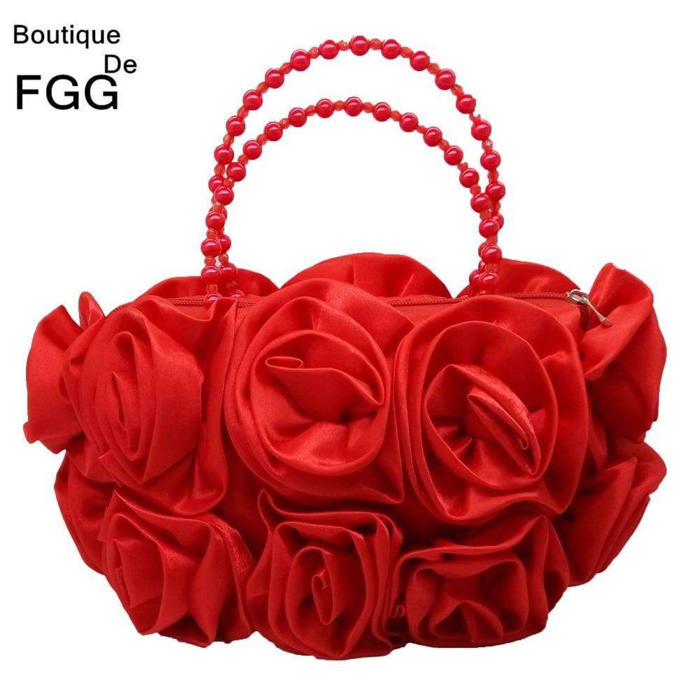 Boutique De FGG Red Flower Rose Bush Women Satin Evening Purse Beaded Handle Totes Bag Wedding Handbag Bridal Clutch