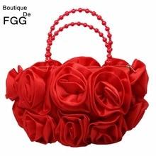 Boutique De FGG Rosso Fiore della Rosa Bush Donne Da Sera In Raso Borsa In Rilievo Maniglia Borsoni Sacchetto di Cerimonia Nuziale Borsa Da Sposa Frizione