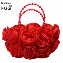 Boutique de fgg flor vermelha rosa bush mulher cetim noite bolsa frisada alça totes bolsa de casamento nupcial embreagem