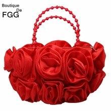 בוטיק דה FGG אדום פרח עלה בוש נשים סאטן ערב ארנק חרוזים ידית טוטס תיק חתונת תיק כלה מצמד