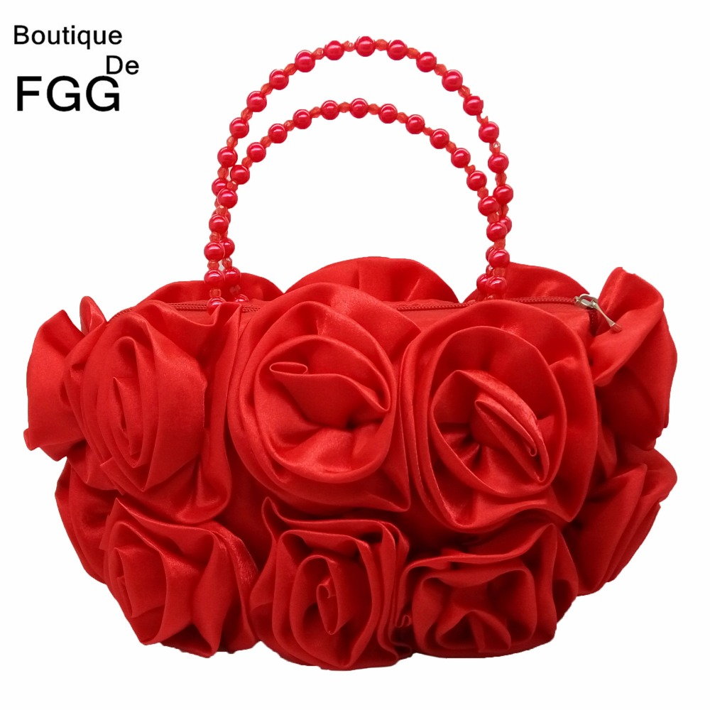 Mujeres Pequeño Marco Suave Sólido Beige Satén Rosa de La Flor de Noche bolsas d