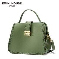 EMINI HOUSE Fashion Bow Tie Doctor Bag Padlock Handbag Split Leather Women Messenger Bags Women Leather