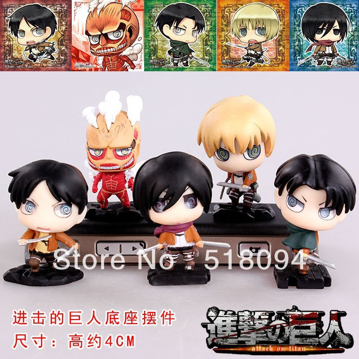 Free Shipping Cute Attack on Titan Eren Mikasa Armin Rivaille Colossal Titan Boxed PVC Mini Action Figures Toys 5pcs/set ATFG038 patrulla canina with shield brinquedos 6pcs set 6cm patrulha canina patrol puppy dog pvc action figures juguetes kids hot toys