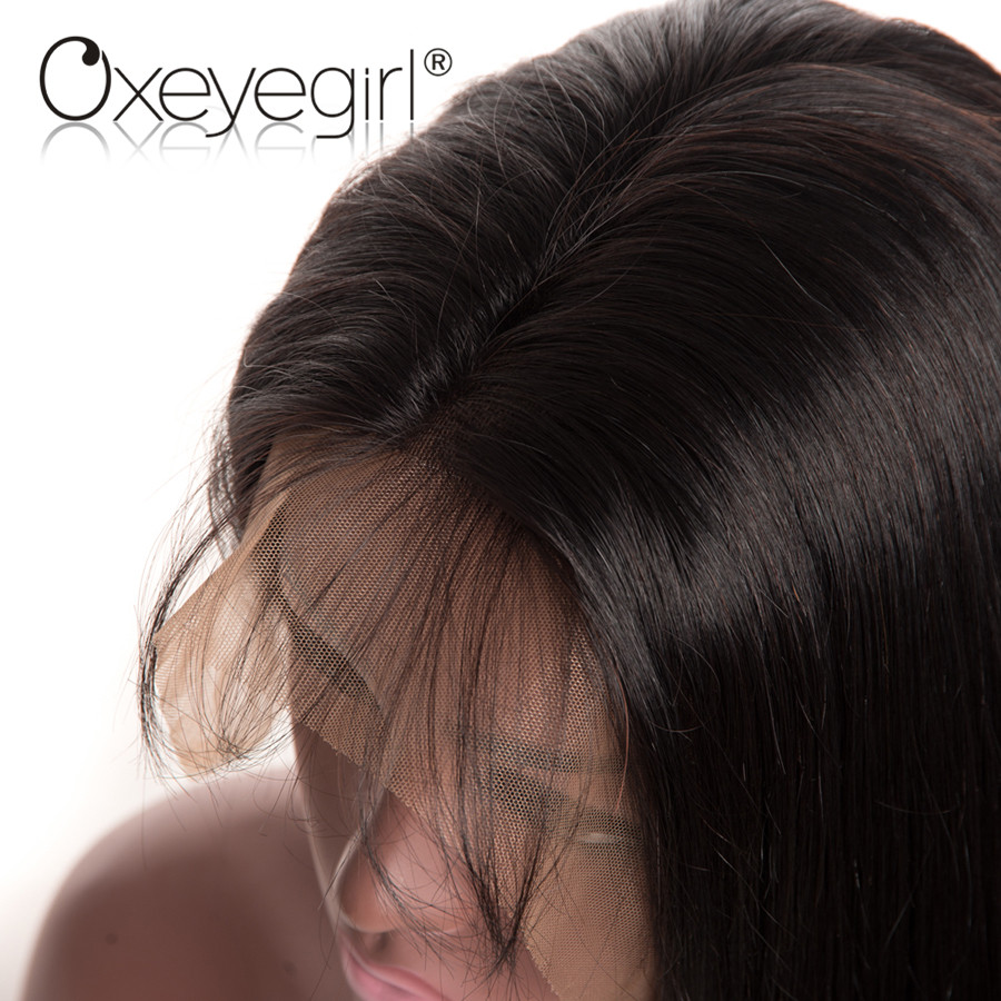 Malaysian Straight Lace Front Wig 150%&180% Density Lace Front Human Hair Wigs With Baby Hair Pre Plucked Non Remy Oxeye girl