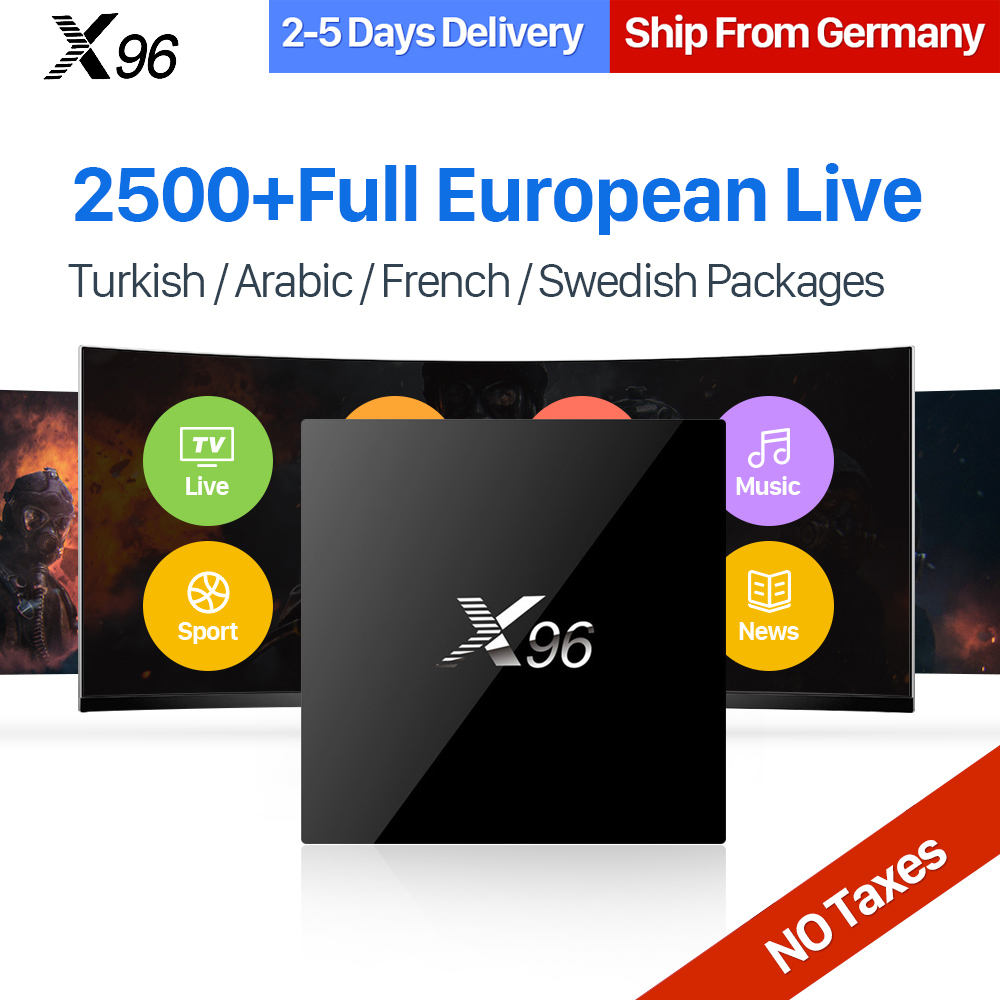 X96 IPTV Sweden Box Android S905X Quad Core 1 Year IPTV Subscription 2500+ UK Germany Italy Sweden Spain Turkey Ip tv Channels dalletektv q1404 android tv box quad core android iptv box 6 months free iptv subscription italy spain french indian netherlands