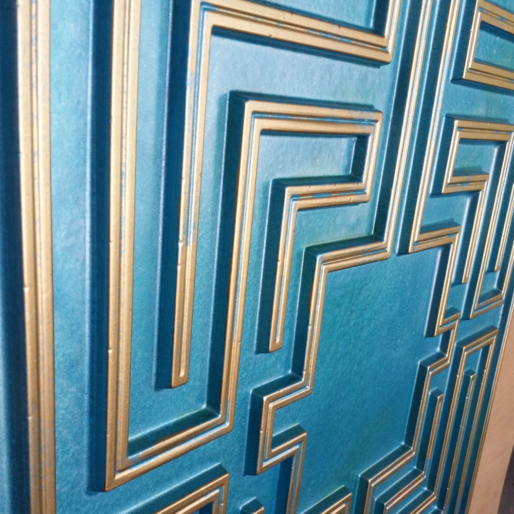 pl25 false tin ceiling tile cyan gold color 3d embossed cafe club