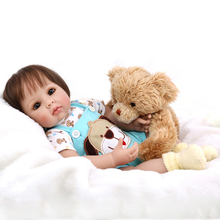 50cm Silicone Baby Reborn Dolls Baby Born Gifts Toys for Children Girls and Boys Included the Bear