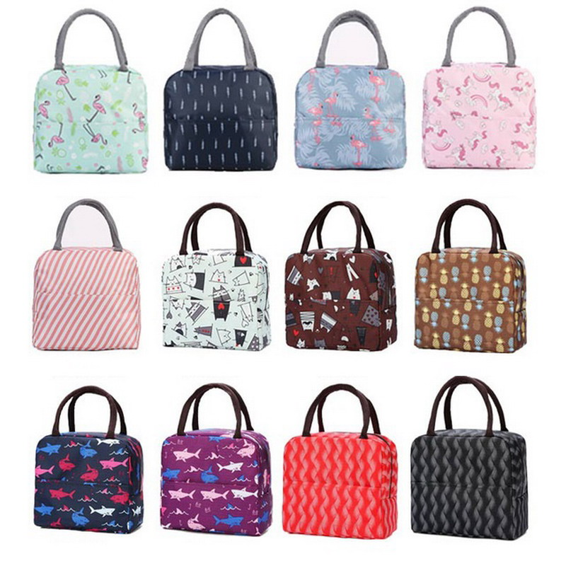1PCs New Fresh Insulation Cold Bales Thermal Oxford Lunch Bags Waterproof Convenient Leisure Bags Cute Flamingo Unicorn Tote Bag