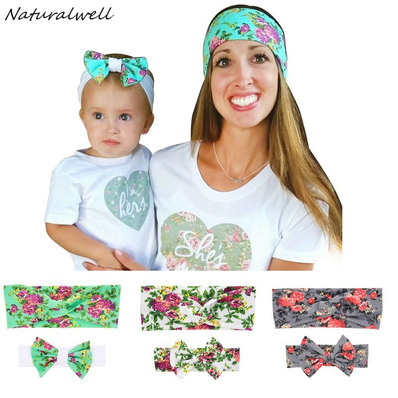 Naturalwell Mom and me matching turban headband Soft Cotton Bow Hairband Knot Head Wrap Mom daughter Hairband Accessories HB511 new women turban twist headband head wrap twisted knotted knot soft hair band bohemian pattern style