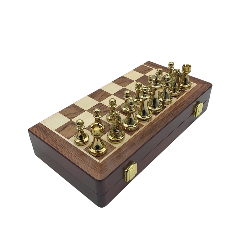 Easytoday Metal Glossy Golden And Silver Chess Pieces Solid Wooden Folding Chess Board High Grade Professional Chess Games Set 4