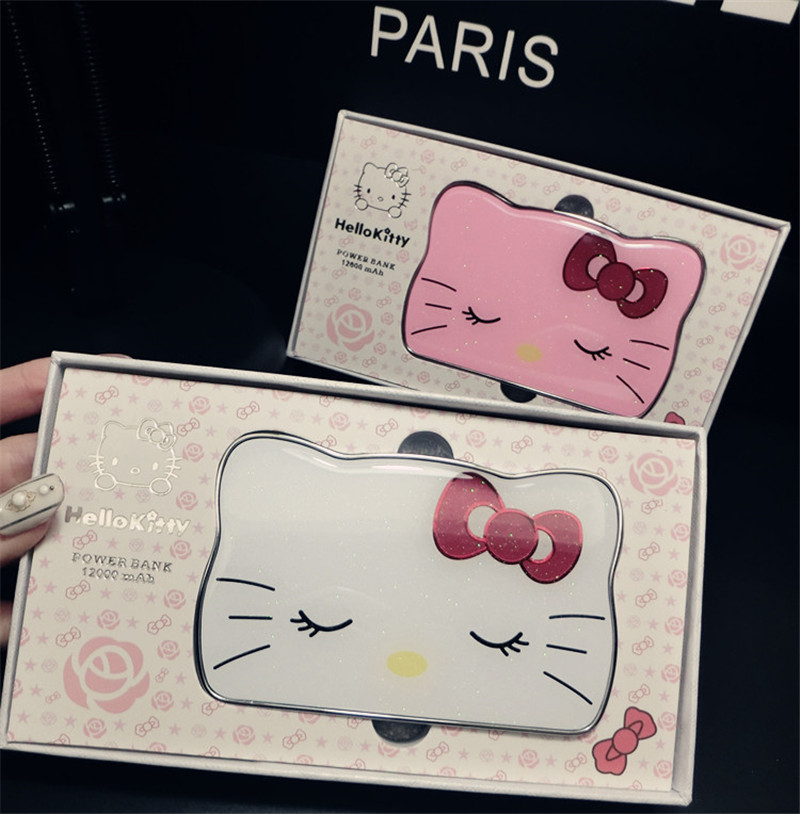 bilder für Ultradünne hallo kitty energienbank 12000 mah tragbaren akku powe rbank hallo kitty cartoon design ladung für iphone samsung