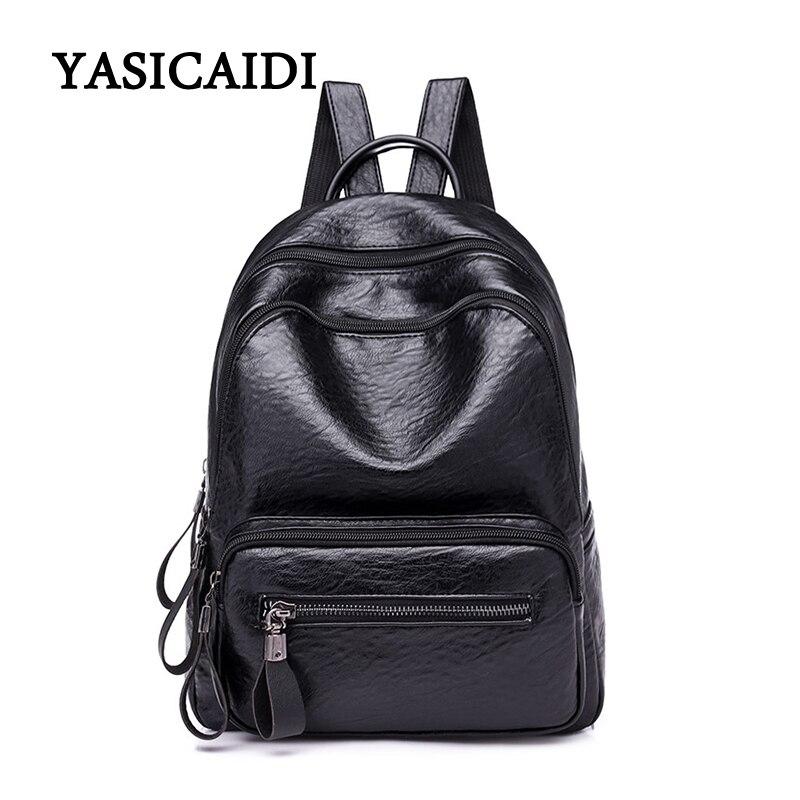 2018 Fashion Women Backpack High Quality PU Leather Backpacks for Teenage Girls Female School Bag Bagpack mochila fashion rivet zipper solid women pu leather lady backpack multi function mini bagpack backpacks hb25 32