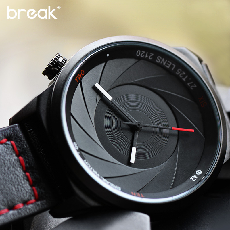 Break Brand NEW Sport Men Watch Clock Unique Design Photographer Series Male Female Military Leather Watches relogio masculino splendid brand new boys girls students time clock electronic digital lcd wrist sport watch