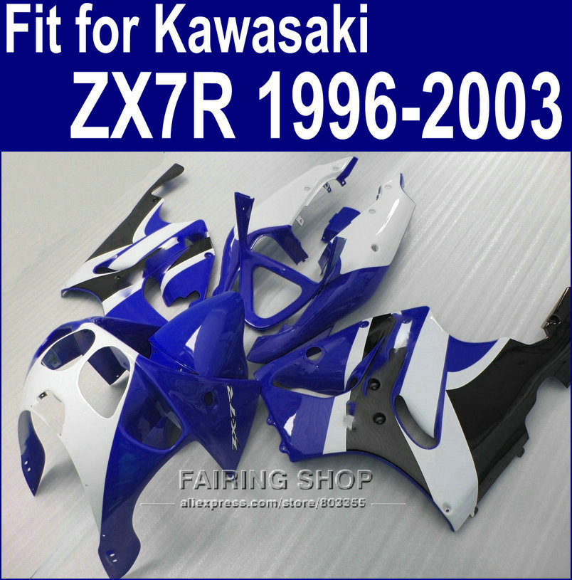 *For Kawasaki ninja High quality Fairings ZX7R 1996 - 2003 / 96-03 fairing kit Blue&white (Ems free ) a88 fairing bolts full screw kit for kawasaki ninja zx 7r 96 03 zx 7 r zx 7r zx7r 96 1999 2000 2001 2002 2003 5f19 nuts bolt screws
