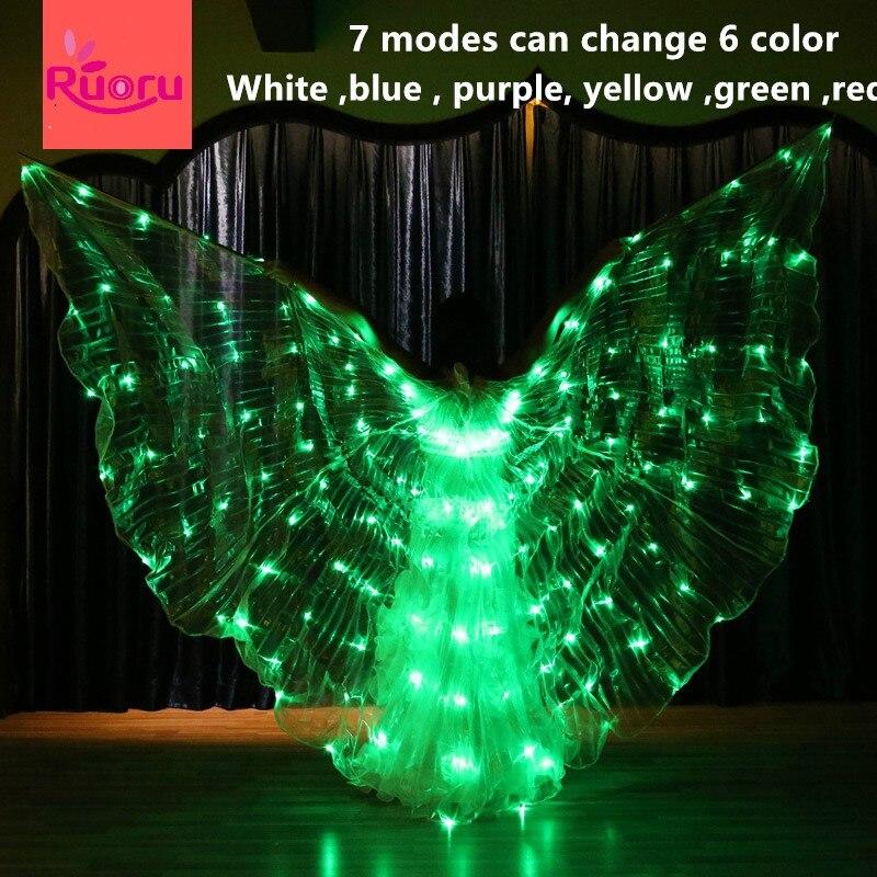 Ruoru 7 modalità di danza Del Ventre led ali di isis cambiamento sei colori danza Del Ventre led wings prestazione della fase puntelli accessori 360 gradi