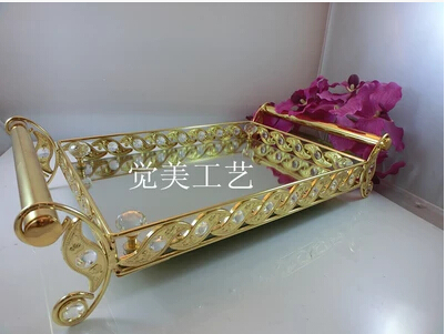 fashion decorative metal crystal tray mirror tray wedding decoration supplie metal serving tray decorative trays glass trayft014 in storage trays from home - Decorative Trays