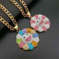 2019 new Men Hip hop Sun flower pendant necklaces Iced out bling Stainless Steel fashion Charm Pendants Necklace Hiphop jewelry