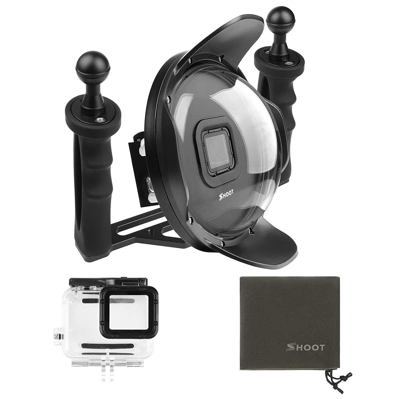 TIRER Mis À Jour 5.0 Version Stabilisateur Plateau Dôme Port pour GoPro Hero 5/6/HERO Noir Caméra 6 pouce plongée De Poche Lens Hood Dom