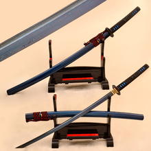 Blue Blade Samurai Japanese Katana Sword Full Tang Damascus Folded Steel Sharp Battle Ready High Quality Iron Tsuba Custom Sword