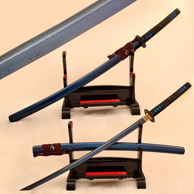 Blue Blade Samurai Japanese Katana Sword Full Tang Damascus Folded Steel Sharp Battle Ready High Quality Iron Tsuba Custom Sword