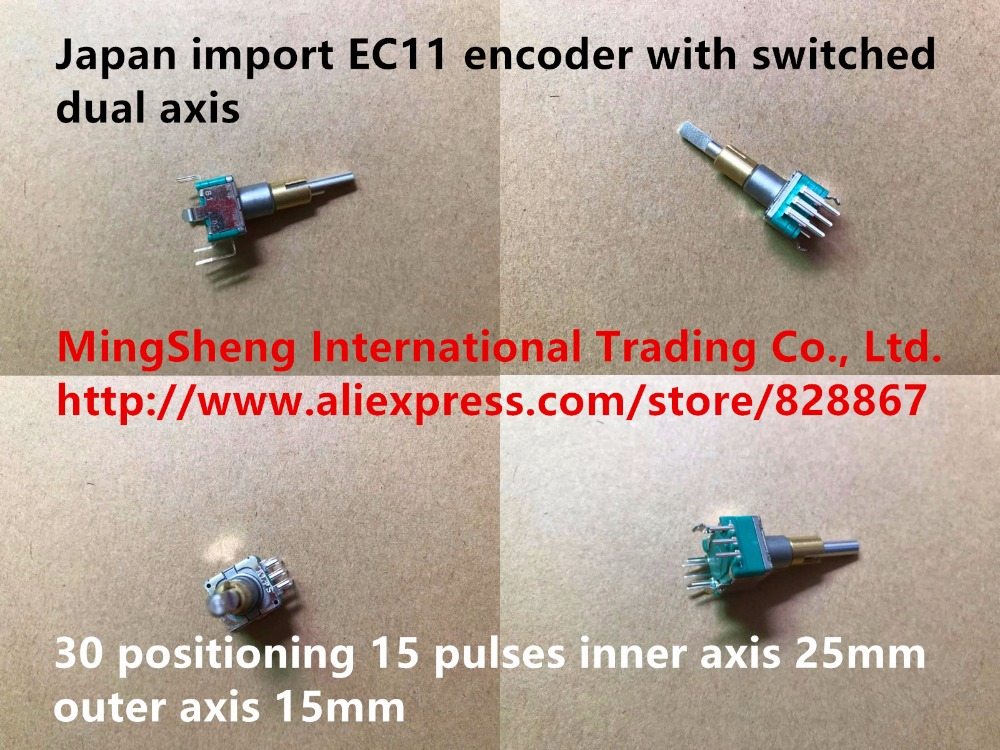 Original new 100% Japan import EC11 encoder with switched dual axis 30 positioning 15 pulses inner axis 25mm outer axis 15mm alps ec11 double shaft encoder dual with switch 2 in 30 positioning 15 pulse potentiometer shaft length 30mm