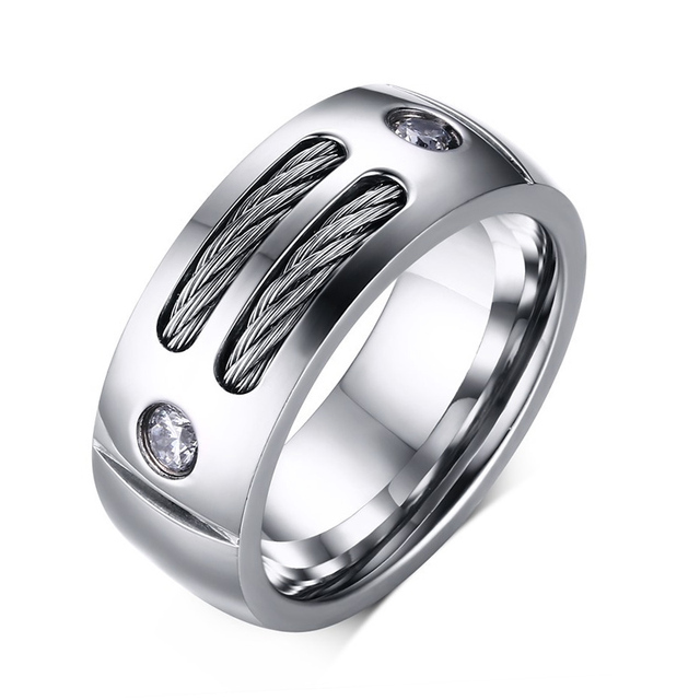 Cubic Zirconia Men Infinity Wedding Rings Stainless Steel Women Bands Titanium Engagement Promise Ring Jewelry