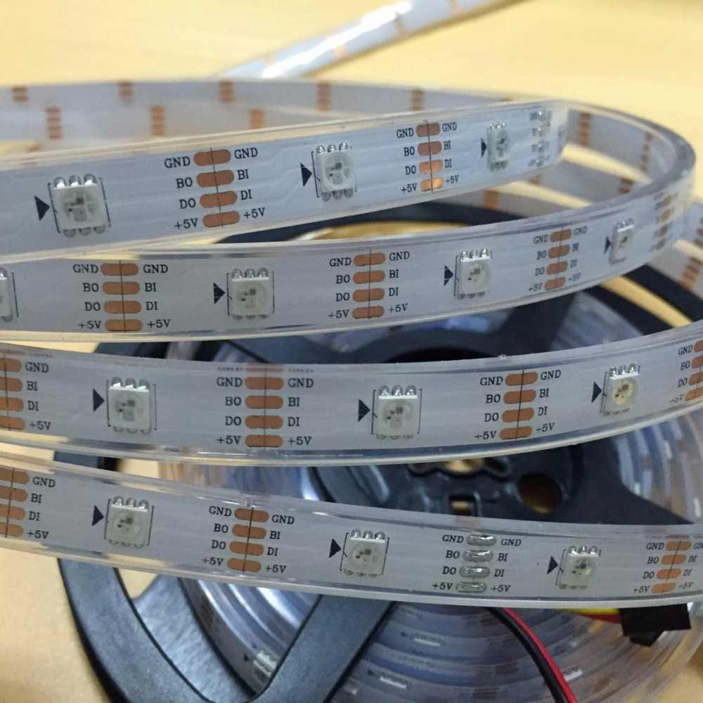 WS2813 (WS2811 протокол) прибор приемно-5 м 30 светодиодный s/m DC5V светодиодный пиксельный RGB полосы, IP68; заполнение эпоксидной смолой в трубке, 30 пикс./м; белый печатных плат