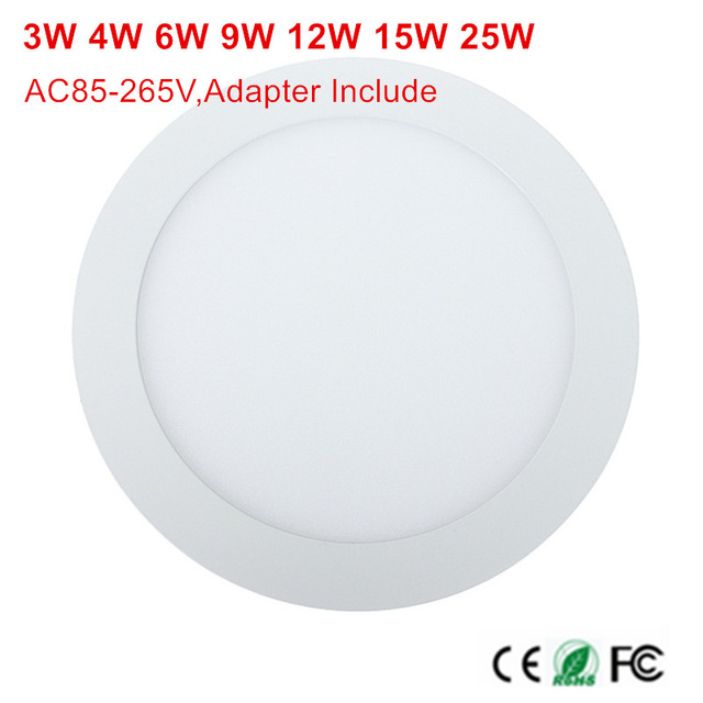 3W/4W/6W/9W/12W/15W/25W LED ceiling LED downlight Round panel light bulb AC85-265V Warm /Cool white+ drive