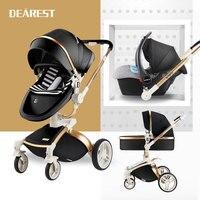 Милая кожаная детская коляска 3 в 1 с большими колесами для зимней детской коляски