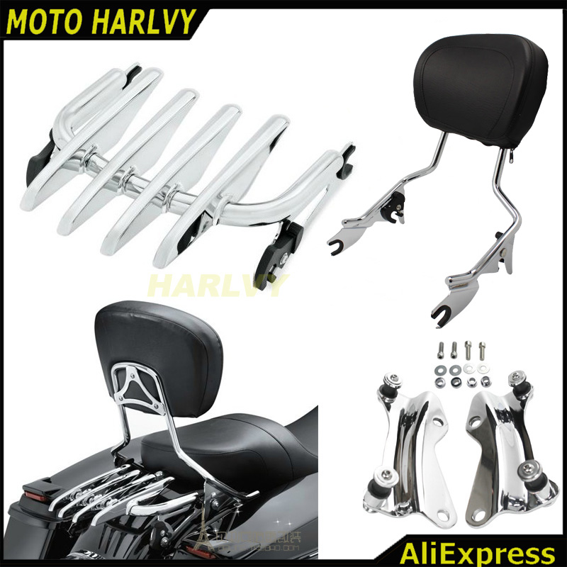 Adjustable Backrest Sissy Bar Stealth Luggage Rack For Harley Davidson Touring 2009 2016 Electra Glide Road
