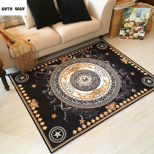 Baroque American Retro Style Carpet Living Room Sofa Coffee Table Doorway  Entrance Mat Microfiber Material Rug