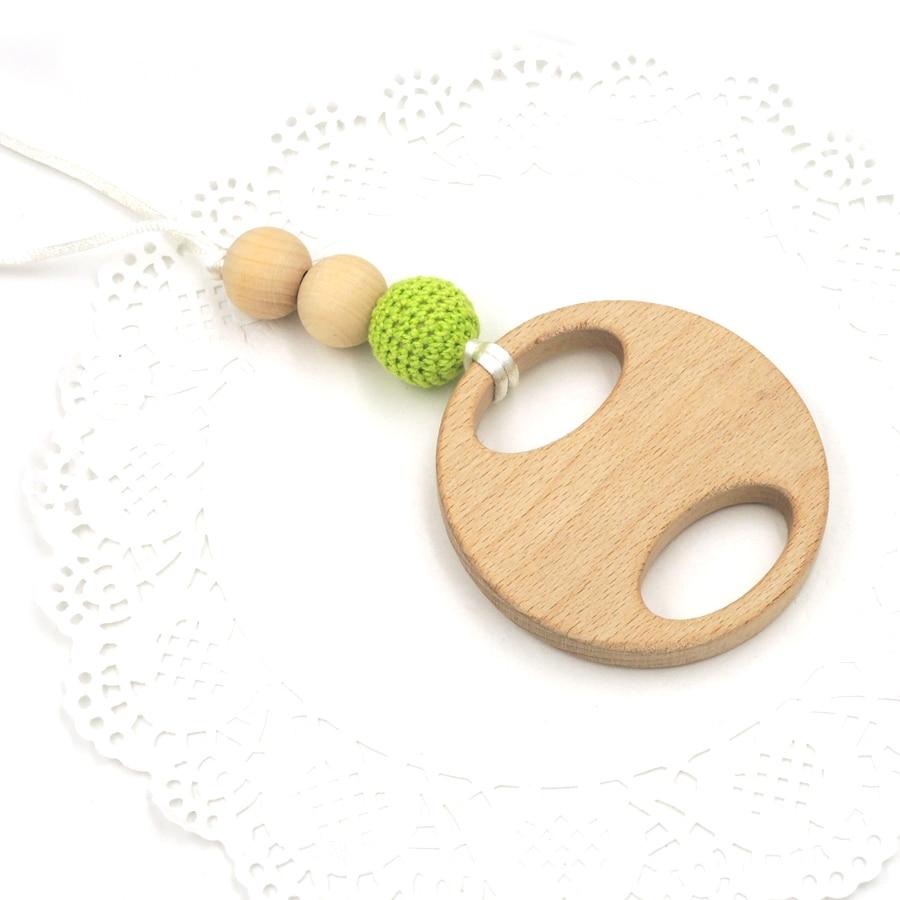 Mama Nursing Necklace mommy jewelry Lemon green crochet beads big beech wooden teether round pad rattle EN47
