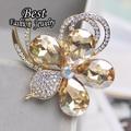 Korean Dual-use New Fashion Created Rhinestone Flower Brooch Stewardess Scarf Women Jewelry