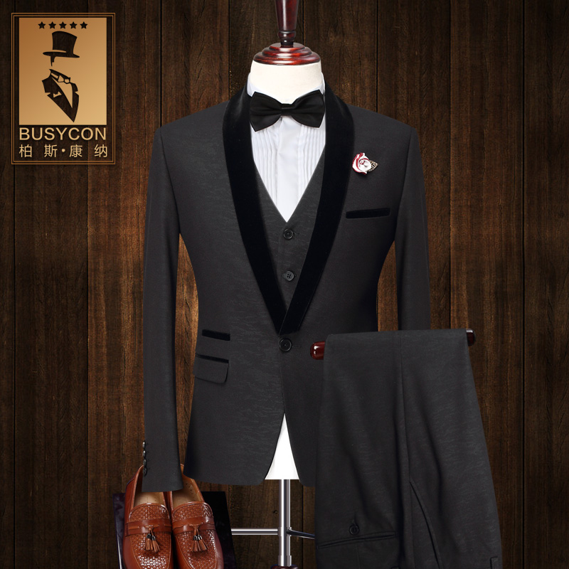 black tuxedo dinner jacket for men suit wedding groom 2016 slim fit. Black Bedroom Furniture Sets. Home Design Ideas