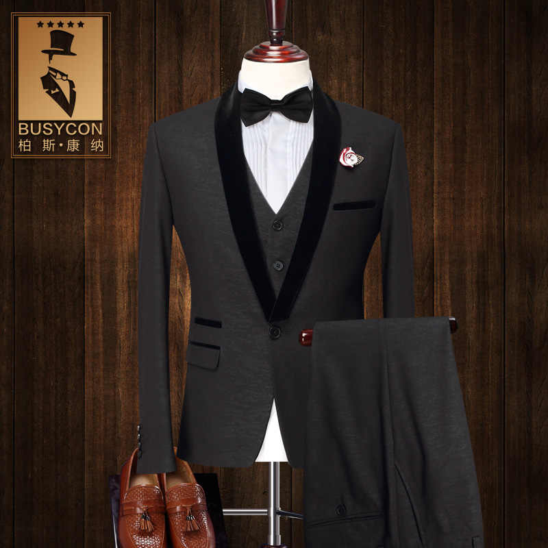 4c74daa090e4a Fashion Black Tuxedo Dinner Jacket For Men Suit Wedding Groom 2016 Slim Fit  3 Piece Formal