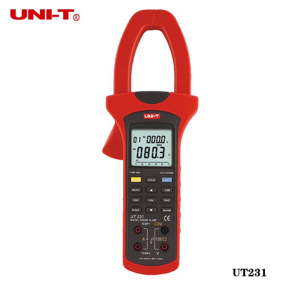 Uni-T UT231 Single-phase 2-wire True RMS Power Clamp Meter Power Factor Phase Angle 600KW USB Data Logging Analogue Bar Graph