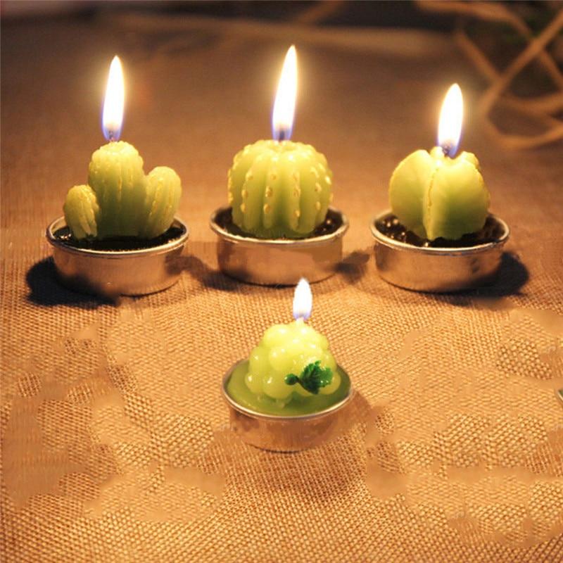 Home Decor 6pcs/set Rare Mini Cactus Candle Table Tea Light Home Garden Simulation Plant Candle Decorative Wedding Wax Candles Home Decor