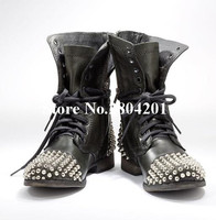 Top Selling Fashion Martin Boots Round Toe Rivet Metal Embellished Lace Up Low Heel Zipper Detail Motorcycle Booties Black Shoes